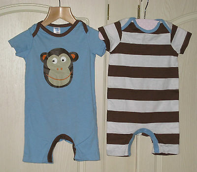 New Baby Mini Boden Romper Play Suit 3 6 12 18 24 months monkey or stripe