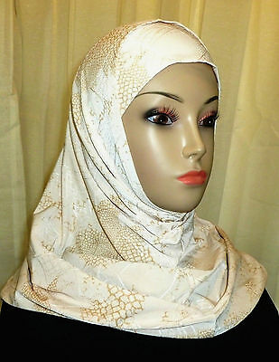 Top Quality Hijab Amira Two Piece Fancy Pattern Scarf - Beige /Tan & Gold Color