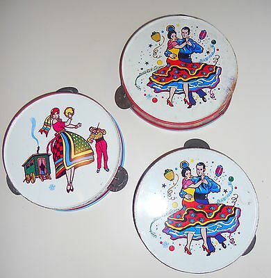 LOT of 3 (Set of 3) Vintage Metal Toy Tambourines with Festive Gypsy and Dancers