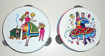 LOT of 2 (Set of 2) Vintage Metal Toy Tambourines with Festive Gypsy and Dancers