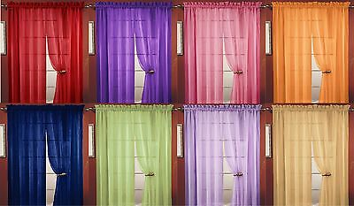 Sheer Voile Window Room Curtain Panel, 20 Colors, Quality Sheer Curtains - 55X84