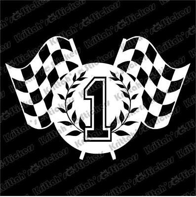 "CHECKERED FLAG #1 Vinyl Decal 4x3"" car wall sticker winner indy nascar race K170"