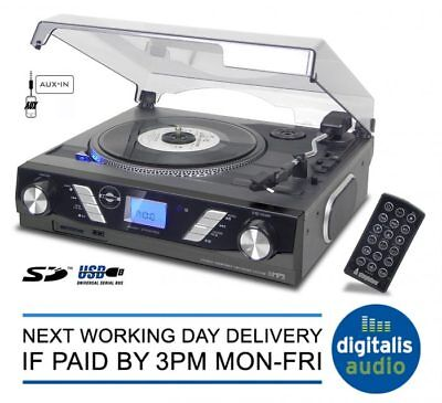 Steepletone Black Record Player ST929R Turntable MP3 SD Recording iPhone Player