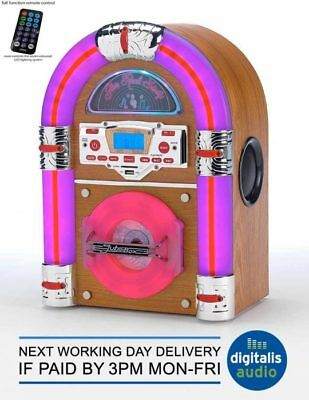 Steepletone Bluetooth Jukebox USB CD Player LED SD MP3 Tabletop Wurlitzer Style