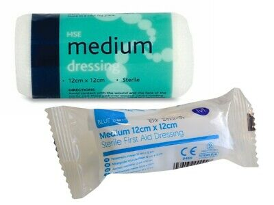 10 x HSE Medium Dressing Sterile Dressings with Bandage - First Aid Kit Refills