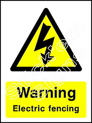 Warning Electric fencing - COUN0049 Stickers & Signs