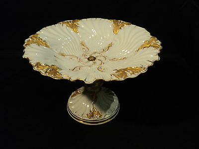 STUNNING 19th C. MEISSEN PORCELAIN CROSSED SWORDS GILT FOOTED COMPOTE