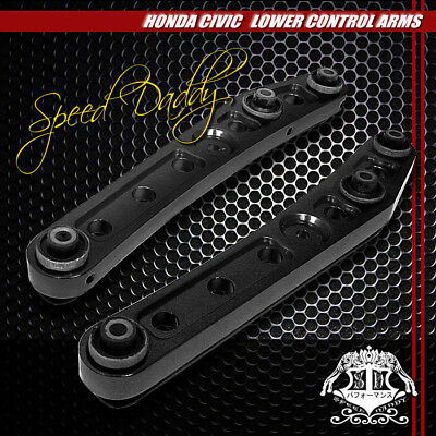 2-PC POWDER-COATED REAR LOWER CONTROL ARMS CAMBER 88-95 HONDA CIVIC CRX LX BLACK