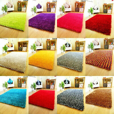 Small Large Spaghetti Rugs Sparkle Thick Plain Shaggy Runners Lounge Shag Rug