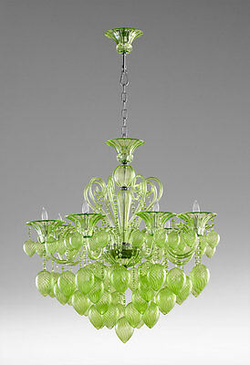 GREEN GLASS & CRYSTAL CHANDELIER, 8 Light, Murano STYLE Hand Blown, DRAMATIC!