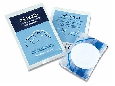 10 x CPR Resuscitation Face Shields with Filter paper in foil sealed packets