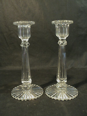 "Pair Gorgeous Signed ""hawkes"" Cut Crystal Candlesticks / Candleholders, Mint!"