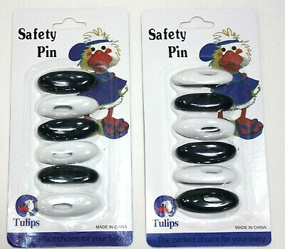 New (6) Hijab White & Black Pins - Islamic Sca​rf Shayla Hijab Safety Pins