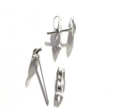 100 sets of Silver Plated Half Ball Studs Earring Posts