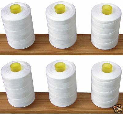 100% Cotton Sewing Thread *6 Large White Spools / Reels