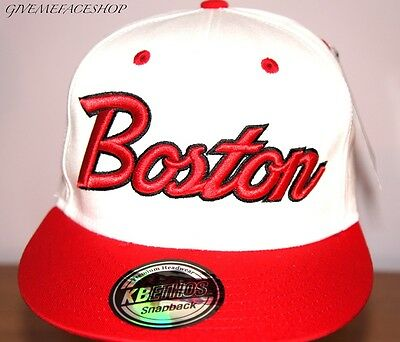 Exclusive Boston Snapback Cap, White Flat Peak Fitted Bling Hat, Brim One Size