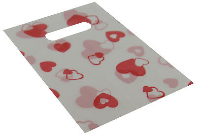 100 x Plastic Gift Bags White with Red Hearts 14x20cm FREE DEL (59004-173-02)