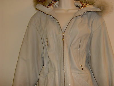 AWESOME Luxe BEIGE Vintage Leather and Coyote FUR Parka Jacqueline Ferrar SMALL