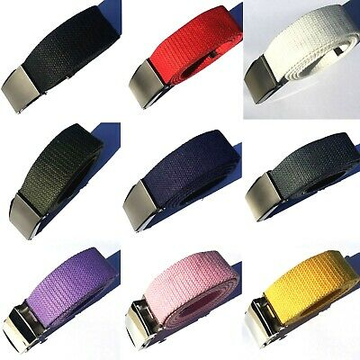 AU Multi Color Steel Buckle Man Woman Boy Girl Canvas Adjustable Belt 110cm 39""
