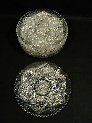 Wonderful Set/6 American Brilliant Period (Abp) Cut Glass Dessert Plates