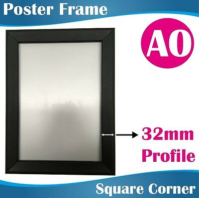 A0 Heavy Duty BLACK Square Corner Snap Frame Poster Frame 32MM Profile