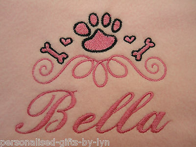 Personalised Dog Blanket Pet - Cat - Dog Blanket in a choice of 7 colours
