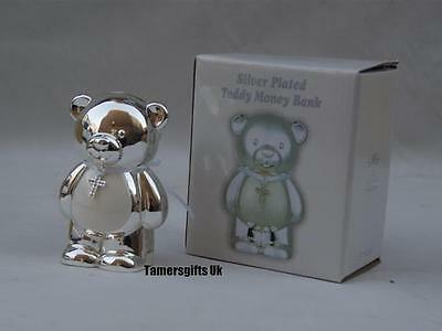 Teddy Money Box Piggy Bank Silver Plated Boy or Girl Baby Christening Gift