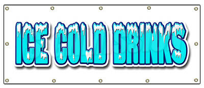"""48""""x120"""" ICE COLD DRINKS BANNER SIGN drink cart stand beer signs cola water soda"""