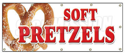 "48""x120"" SOFT PRETZELS BANNER SIGN pretzel stand cart signs hot fresh"