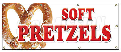 "36""x96"" SOFT PRETZELS BANNER SIGN pretzel stand cart signs hot fresh"