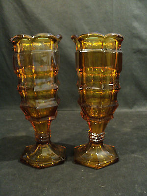 Pair Early American Pattern Glass Flint Glass Celery Vases, Deep Topaz