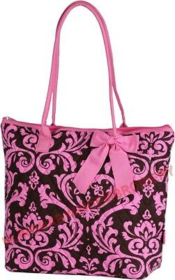 Quilted Diaper Tote Bag Damask Brown Pink Embroidery Rhinestone Option