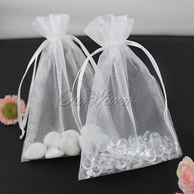 "50 White 4x6"" 10x15cm Strong Organza Pouch Wedding Favor Jewelry Gift Candy Bags"