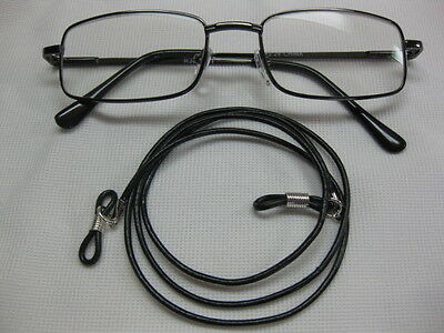 """27"""" Black Leather 2mm Eyeglass Cord Adjustable Ends~Holder~Chain~Leash Made USA"""