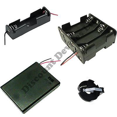 1 2 3 4 6 8 x AA AAA 23A 9V Battery Holder Snap On Connector Enclosed Box Switch