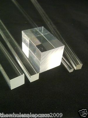 Square Clear Acrylic Rod Solid Perspex Bar Plexiglass Profile Food Safe Pmma