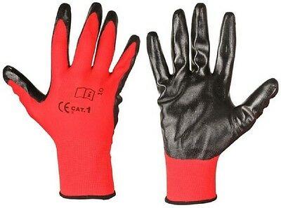 12 Pairs Of New Nitrile Coated Work Gloves Black Red Construction Gardardening
