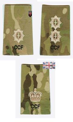 Pair Multicam CCF Guards ALL Officers Rank Slides Combined Cadet Force ( MTP