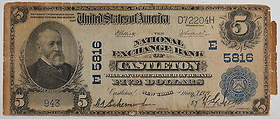 Series 1902 $5 National Currency Note, Castleton NY, E 5816