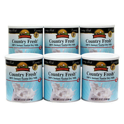 Augason Farms Country Fresh Food 100% Instant Nonfat Dry Milk 8 Oz Cans - 6 pk