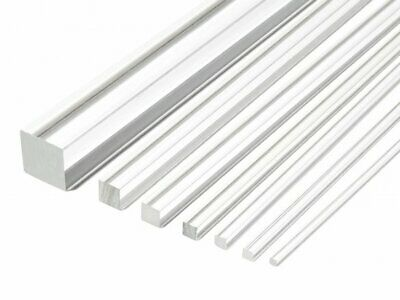Square Clear Acrylic Rod Solid Perspex Bar Plexiglass Profile 500Mm Long Lengths