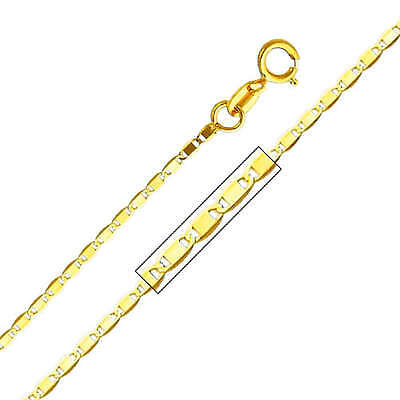 14K Solid Yellow Gold Light 1.3mm Valentino Chain Necklace 16 Inches