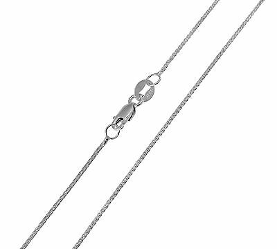 "14K Real White Gold 0.9mm Braided Wheat Chain Necklace 22"" Inches for Women"