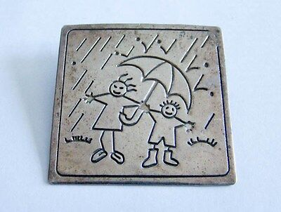 Sterling Silver Large Playing Children Pin Pendant 925
