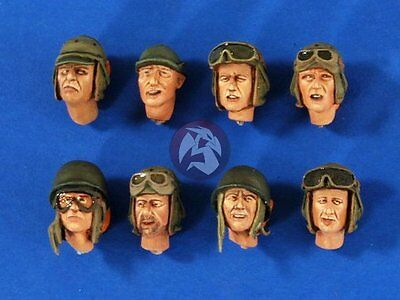 Verlinden 1/35 US Tanker Soldier Heads WWII (8 heads) [Resin Figure Acces.] 2666