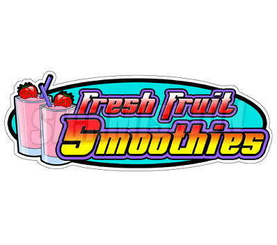 FRESH FRUIT SMOOTHIES Concession Decal drink sign cart trailer stand sticker