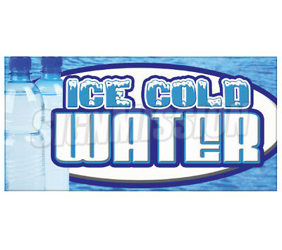 ICE COLD WATER Concession Decal bottled menu sign cart trailer stand sticker