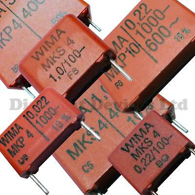 Range of Metallized MKS MKP Polyester Film WIMA Capacitors 1nF-3.3uF  63-1000V