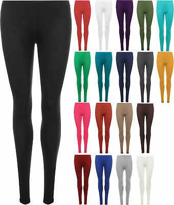New Plus Size Womens Plain Stretch Ladies Full Length Long Leggings Pants 12-30