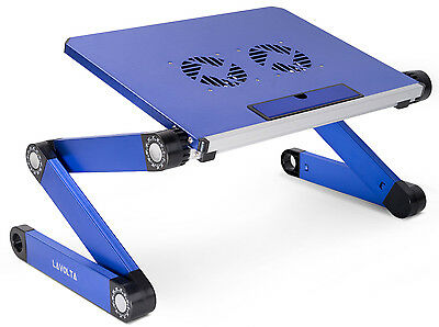 Lavolta Folding Laptop Table Desk Tray Stand Cooling Pad Cooler Fan Adjustable